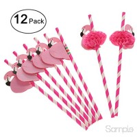 Nicetruc Flamingo Pailles 12pcs Papier Cocktail Potable Cartoon 3D Straws Pool Party Straw Décorations B07MBZ2PWG
