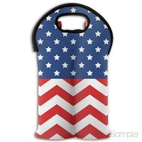 Neoprene Wine Tote Bag Insulated USA American Flag Travel Padded 2 Bottle Wine Champagne Cooler Carrier B07L773B5P
